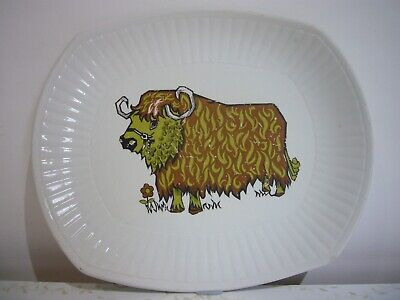 Vintage English Staffordshire Ironstone Pottery Beefeater Steak Plate • 7£