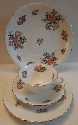 1920's Tuscan China,England Pretty Floral Trio And Cake Plate. Earlier Mark. • 13.50£