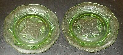 American Depression Glass 2 Green Royal Lace 6 Inch Plates In Good Condition  • 9.99£