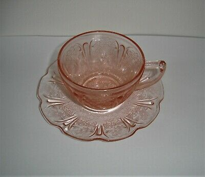Vintage Jeannette Pink Depression Cherry Blossom Glass Cup & Saucer Exc Cond • 12£