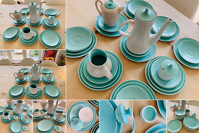 Large Collection Of Green Poole Twintone Pottery Tableware 34 Pieces In Total • 44.99£