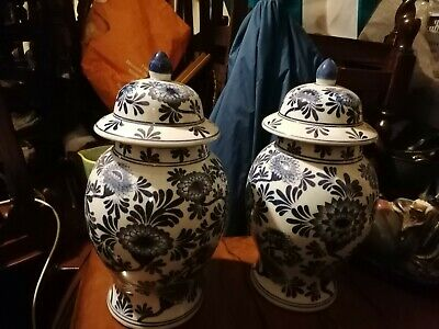 A Pair Of Large Chinese Style. Ginger Jars. Appx 16 Inches High  In Blue White  • 135£