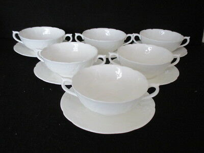 Coalport 'sevres White' Set 6 Soup Coupes And Stands (factory 2nds) • 40£