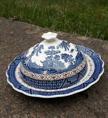 Booths 'Real Old Willow' Blue And White Muffin Dish *Please Read Description* • 27.50£