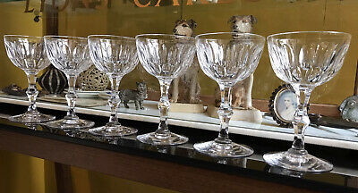 Set Of 6 Victorian Lens Cut Small Champagne Glasses / Coupes • 69£