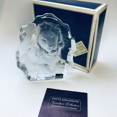Mats Jonasson Signature Collection Signed Lion Crystal Paperweight 3285 • 100£