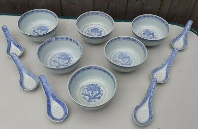 6 X Rice/noodles Bowls And Spoons Made In China • 15£