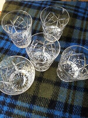 5 X Crystal Whiskey Tumblers Star And Cross Design • 30£