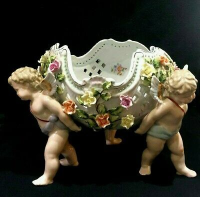 A Fabulous Continental Centre Piece Bowl With Flowers And Cherubs • 550£