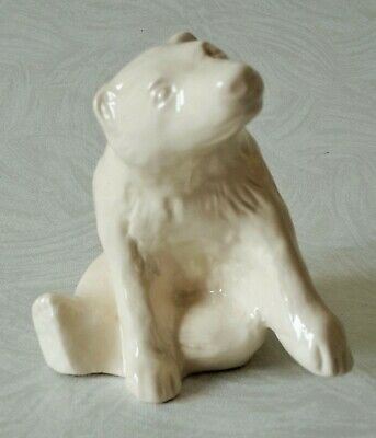 Vintage White Pottery Bear – Detailed Features - Unmarked Vgc • 9.99£