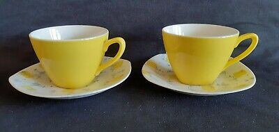 TWO Midwinter COFFEE CUPS & SAUCERS Savanna By Jessie Tait 1956 • 24.99£