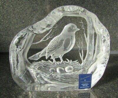 Dartington Crystal Bird Paperweight Labelled Signed Capredoni Bird Ornament • 9£