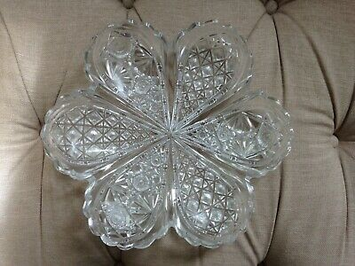 Vintage Large Heavy Clear Cut Glass Avocado Shaped Serving Dish • 5£