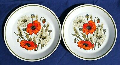 Two (2) J & G MEAKIN POPPY DESIGN  8 3/4  Ironstone PLATES.Exc.Cond  • 6.95£