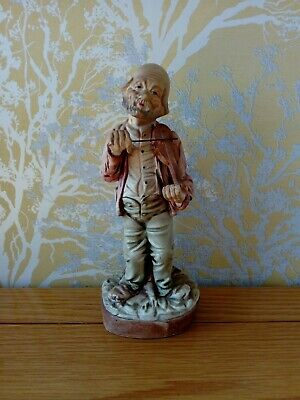 Charming Obscure Vintage Man Playing Violin Hand Made Painted Portuguese Statue • 0.99£