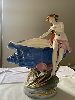 Huge Impresive Royal Dux Dupoma Table Centrepiece Lady Sitting On Large Shell • 499£