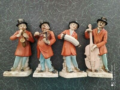 Set Of 4 Pottery Musicians 8/9  In Height In A Capodimonte Style • 9.99£