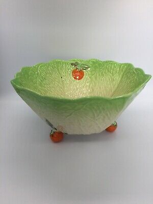 Vintage Beswick Ware Lettuce & Tomato Pattern Salad Bowl With Feet Back Stamped • 39.99£