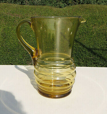 Large Art Deco Hand Blown Amber Coloured Glass Water Jug / Pitcher / Vase • 19.99£