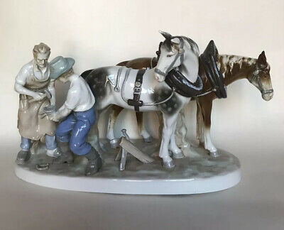 Large Grafenthal German Porcelain Group - Figures With Horses • 69£