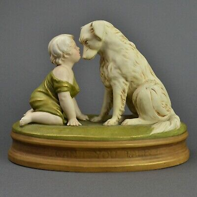 Royal Dux Figure Group Child With Dog 'Can't You Talk' C1920s • 375£