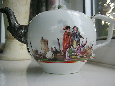SUPERB Early Meissen Teapot And ORIGINAL COVER,with Heroldt Harbour ScenesC.1740 • 74£