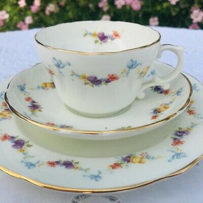 HAMMERSLEY Bone China Tea Cup Saucer And Plate Trio Blue Bows & Floral Swags #2 • 85£