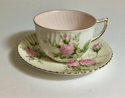 Vintage EB Foley Ribbed White With Baby Pink Roses Tea Cup And Saucer Set • 26.99£