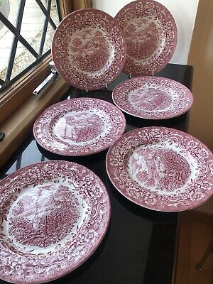 "Royal Tudor Ware Set 6 Pink & White 17th Century England 8"" SALAD PLATES • 12.99£"