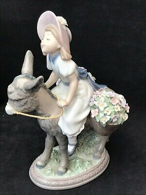 """Lladro Figurine 5465 """"Look At Me!"""" Girl On Donkey With Baskets Of Flowers. • 30£"""