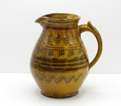 English Country Pottery / Studio Pottery Slipware Jug With Combed Decoration • 40£
