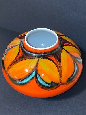 Rare Collectible Poole Pottery Red Multicoloured Delphis Pattern Squat Vase • 23£