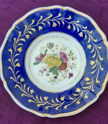Rare Royal Rockingham Works Backstamp Small Plate 1830-31 Blue And Gold Edge • 20£