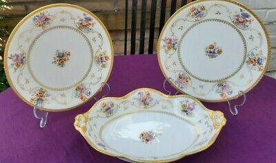 3 Pieces J.C. LIMOGES Hand Painted Gold Decor Plates 22 Cm And Dish • 25£