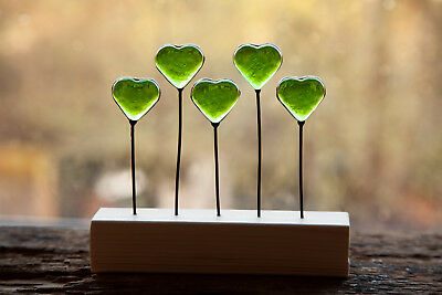Five Little Green Hearts Stained Glass Suncatcher Ornament • 20£