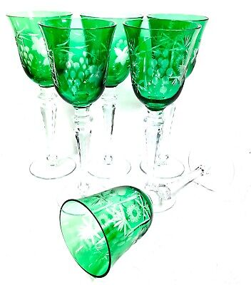 Antique Set Of 6 Green Bohemian Hock Glasses / Wine Glass / Colourful Vintage • 125£