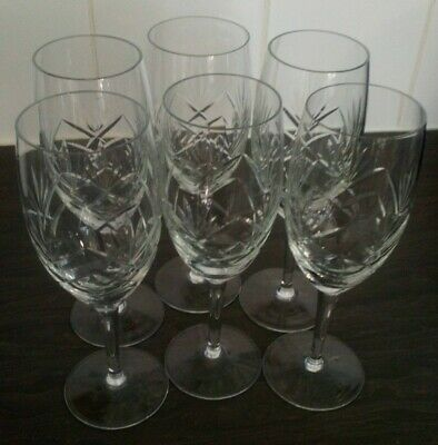 6 Cut Glass Crystal Champagne Glasses. • 9.99£
