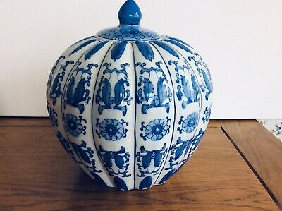 Large Vintage Blue&White Oriental Pattern Ceramic Bowl With Lid, Good Condition • 13.50£