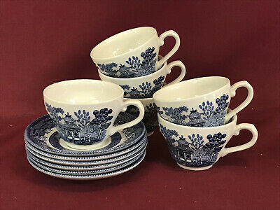 CHURCHILL / QUEENS BLUE WILLOW 6 TEACUPS + SAUCERS - NEW/UNUSED Made In England • 7.99£
