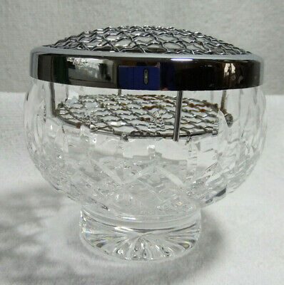 Vintage Lead Crystal Cut Footed Rose / Flower Bowl With Double Layer Metal Frog • 12.25£