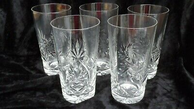 FIVE CRYSTAL CUT GLASS AND ETCHED LONG DRINK GLASSES 14 Cm TALL • 10£