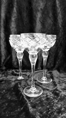 THREE CRYSTAL CUT GLASS WINE / HOCK GLASSES 20 Cm TALL • 6£
