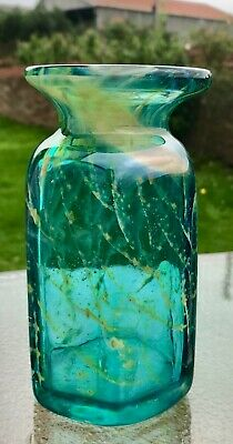 A Beautiful Vintage Art Glass Small Vase Mdina ' Sand & Sea ' In Excellent Cond • 12£