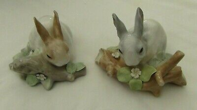 Lladro Pair Of Rabbits Eating Figurines #4773 & 4772 Retired • 48.99£