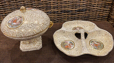 Empire Ware England Gold Chintz Nut Bowl & Pedestal Bowl Lid. Lovely Condition. • 50£