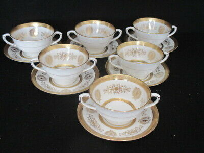 Coalport 'lady Anne' Set Of 6 X Soup Coupe And Stands - 1st Quality • 139.50£