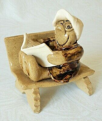 Studio Pottery Figure - Man In Cap Reading Newspaper On Bench – Vgc • 9.99£