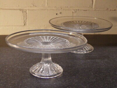 VICTORIAN Pair Of Pressed Glass CAKESTANDS • 10£