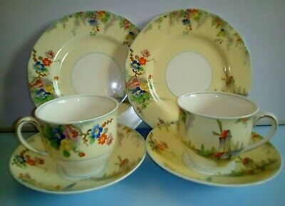 2 X 1930's GRINDLEY  The Old Mill  Tea Trios In Lovely Condition. • 12.99£
