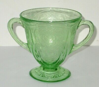 Antique American Depression Glass Green Royal Lace Sugar Bowl In Good Condition • 9.99£
